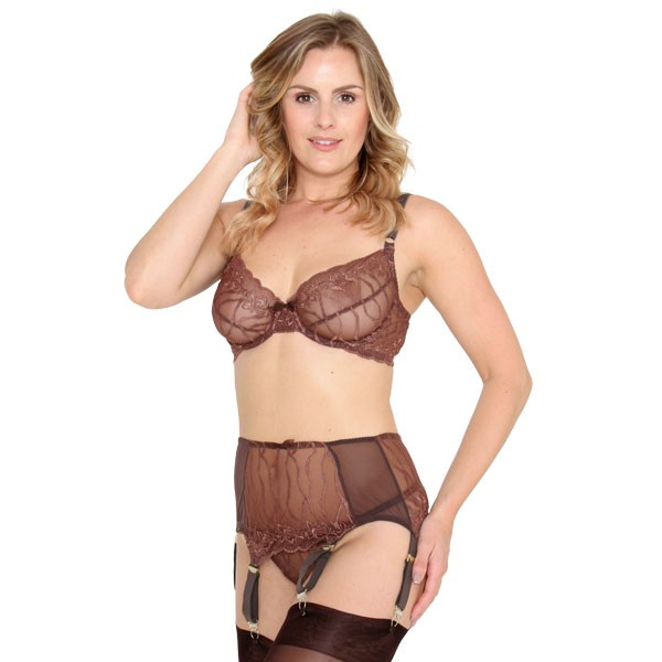 Coco deep suspender belt with wide gold clips