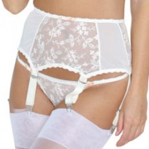 Blossom deep suspender belt with wide clips