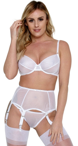 >Krystel deep suspender belt in White