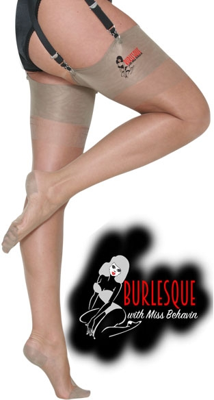 >Burlesque Stockings in Beige with black seam