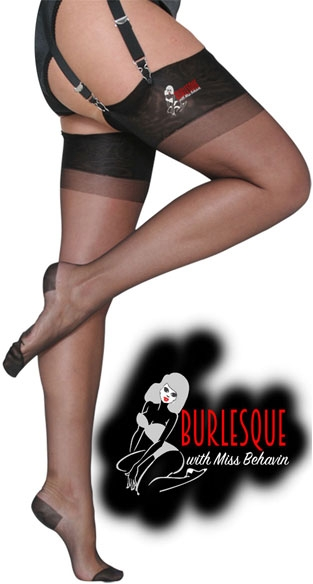 >Burlesque Stockings in Black with red seam