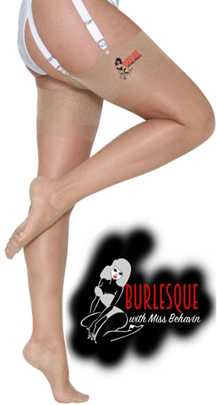 >Burlesque Stockings in Nude with black seam
